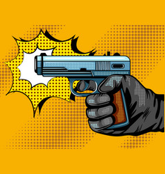 Gun shooting pop art vector