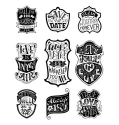 Set of handwritten love lettering in badges vector