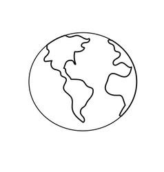 Line global earth plenet with geography ubication vector