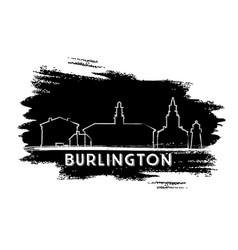 burlington skyline silhouette hand drawn sketch vector image
