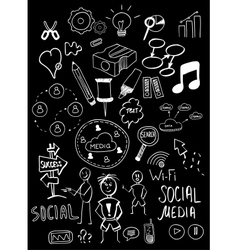 Black isolated web doodles set vector