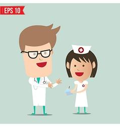 Cartoon doctor explain report to nurse - - vector