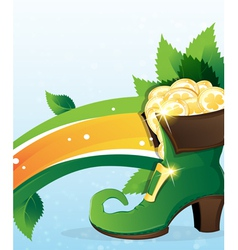 Rainbow and leprechaun shoe with gold vector