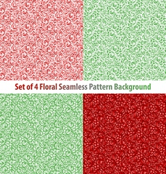 Seamless floral backgrounds and borders set of vector