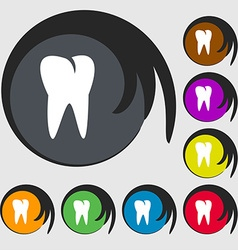 Tooth icon symbols on eight colored buttons vector