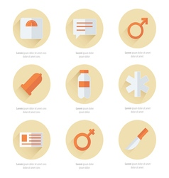 Medical flat icons design 2 color vector