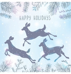 Deer and christmas tree vector
