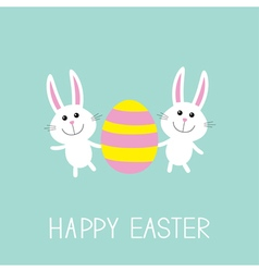 Happy easter two bunny rabbit and striped egg flat vector