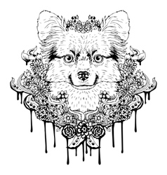 Black and white animal dog head abstract art vector
