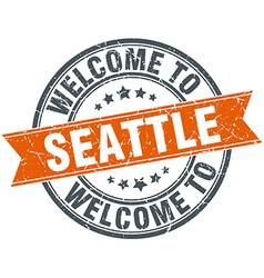 Welcome to seattle orange round ribbon stamp vector