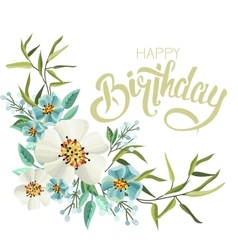Greeting birthday card with flowers vector