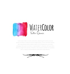 Abstract watercolor card with blue and red color vector