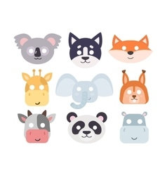 Animals carnival mask set vector image
