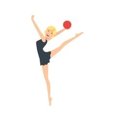 Blond professional rhythmic gymnastics sportswoman vector
