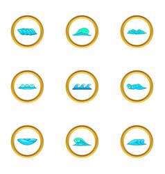 Blue sea waves icons set cartoon style vector