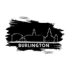 burlington skyline silhouette hand drawn sketch vector image vector image