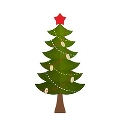 Christmas tree with a star and buds on a white vector image vector image