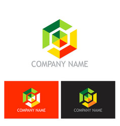 colorful polygon technology logo vector image vector image