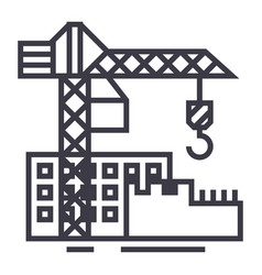 construction buildings line icon sign vector image