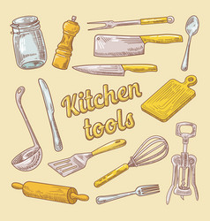 Cooking utensils hand drawn doodle kitchen ware vector