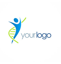 Dna people health care logo vector