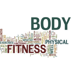 Fitness first text background word cloud concept vector