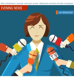 Flat interviewed on television news programs vector image