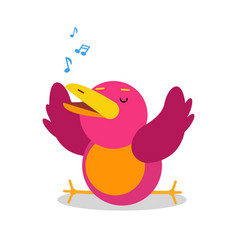 Funny cartoon bird character singing vector