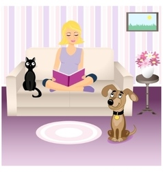 Girl and pets vector