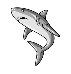 Great white shark icon in monochrome style vector