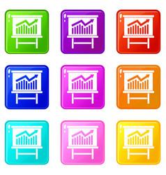 Growing chart presentation icons 9 set vector