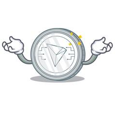 Hand up tron coin character cartoon vector