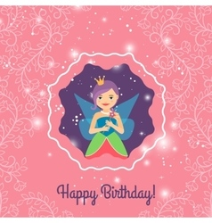 Happy Birthday card with cartoon princess vector image