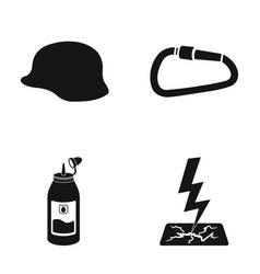 Helmet carbine and other web icon in black style vector