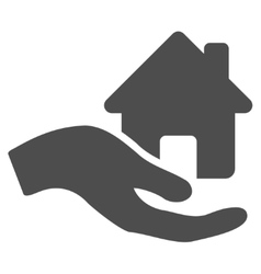 Home offer hand flat icon vector