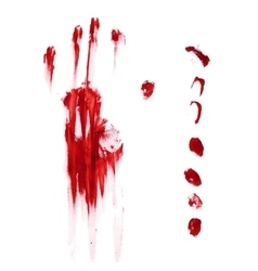 Horror blood hand and finger print vector image
