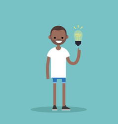 idea concept aha moment young smiling black boy vector image vector image