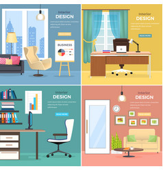interior design of office rooms with furniture vector image vector image