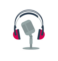 Isolated flat icon old microphone and headphones vector