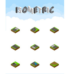 Isometric way set of strip footer footpassenger vector