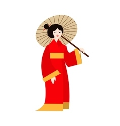 Japanese geisha woman in kimono vector