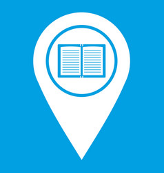 Map pointer with book icon white vector