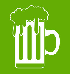 mug with beer icon green vector image vector image