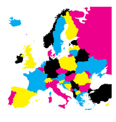 Political map of europe continent in cmyk colors vector