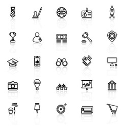 SME line icons with reflect on white vector image vector image