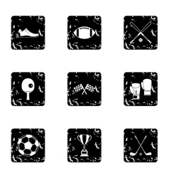 Sports equipment icons set grunge style vector