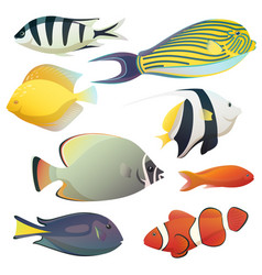 underwater golden fishes and small sea fauna vector image vector image