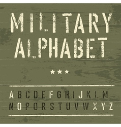 vintage military alphabet vector image vector image