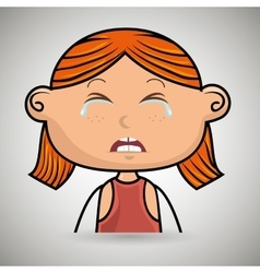 Crying cartoon little girl on white background vector