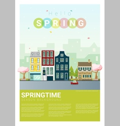 Hello spring cityscape background 5 vector image